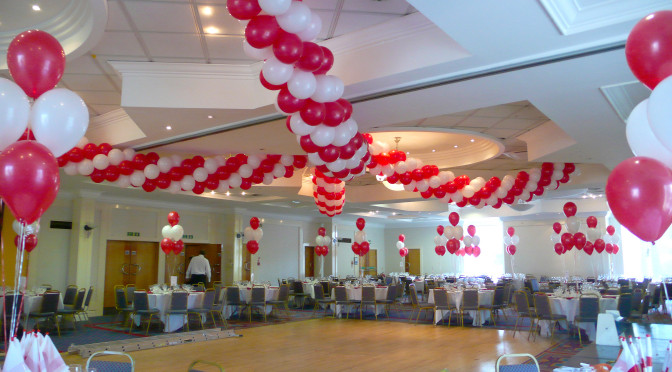 Red and White spiral garland draped across the ceiling
