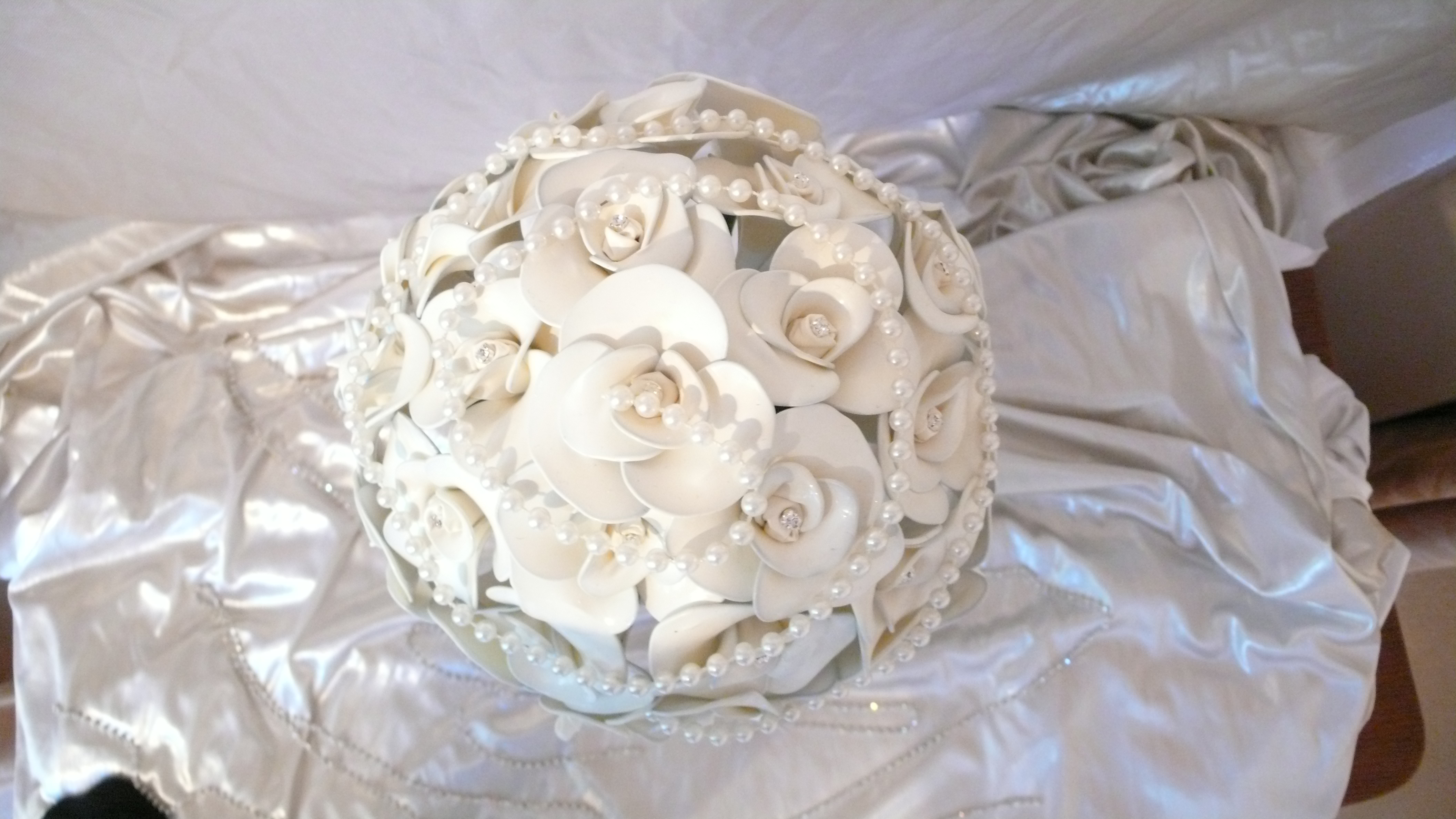 A touch more elegance added, with pearls to a fantasy bouquet